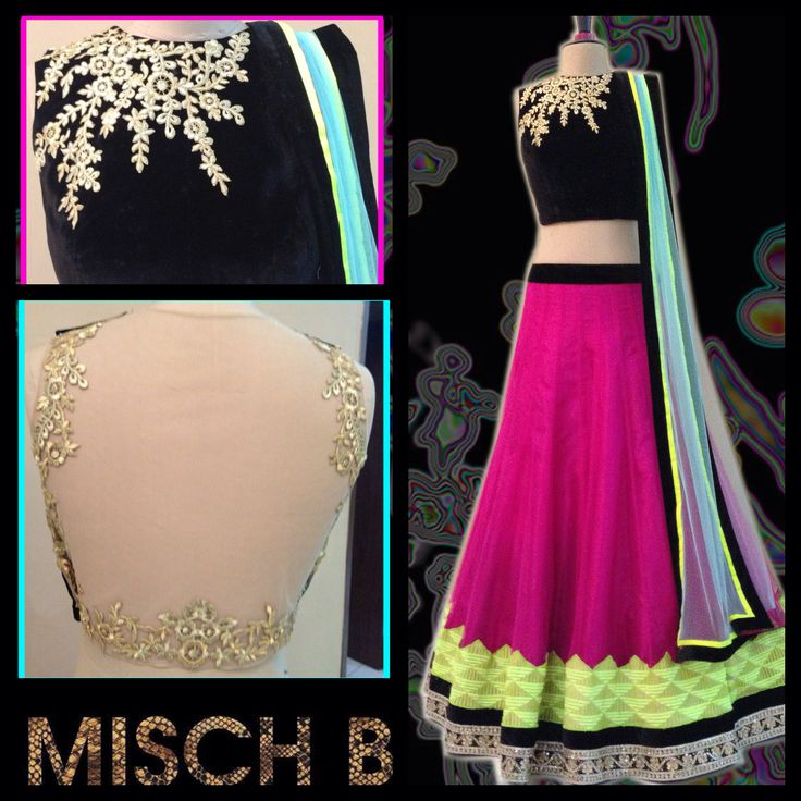 Casual Neon Lehenga by MischB Couture