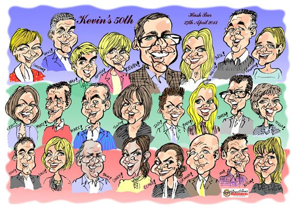 group caricature created from live caricatures from fiftieth birthday party - great entertainment on the night and a great gift to go home with!