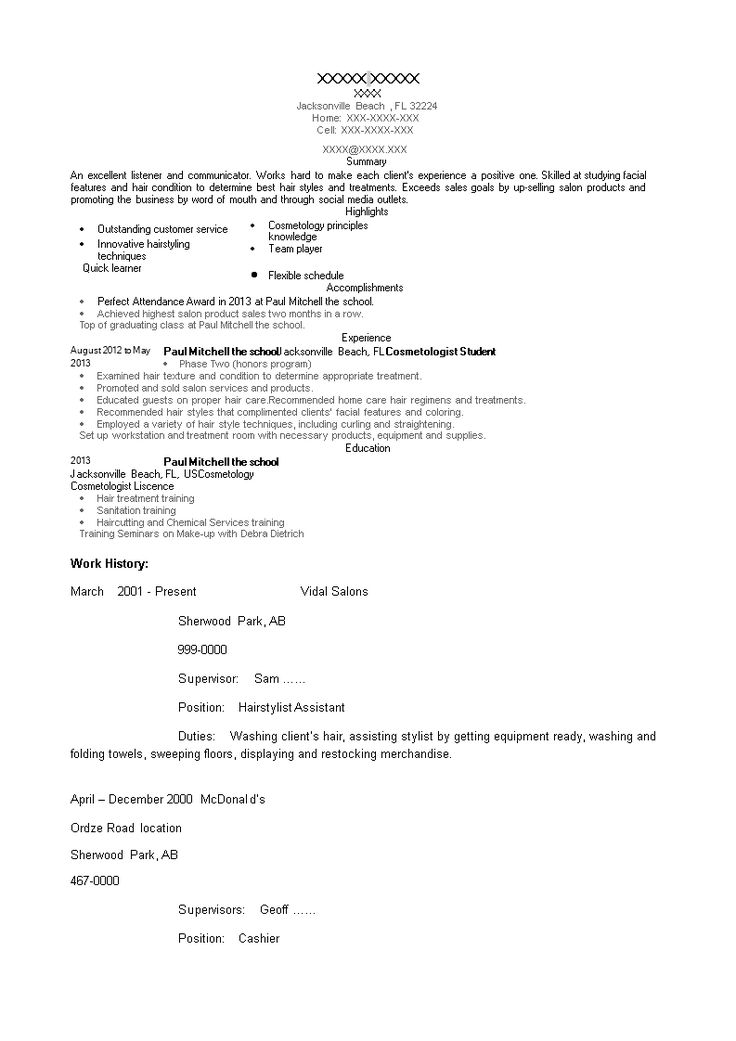 Cosmetology student resume how to create a cosmetology
