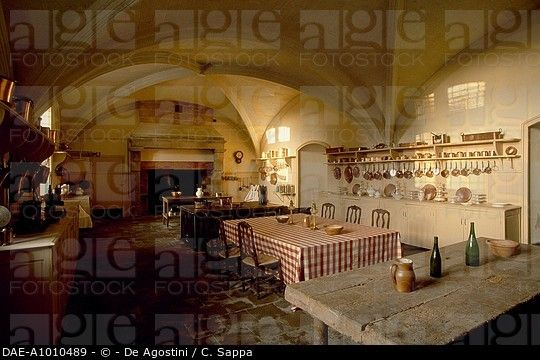 The kitchen of renaissance Chateau of Serrant, Pays de la Loire, France.