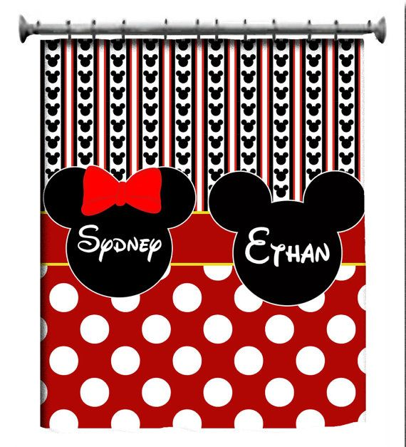 OMG!!  Love this for my twins bathroom!!!  Custom Mickey Minnie Shower Curtain by 3psinapod2011 on Etsy, $75.00