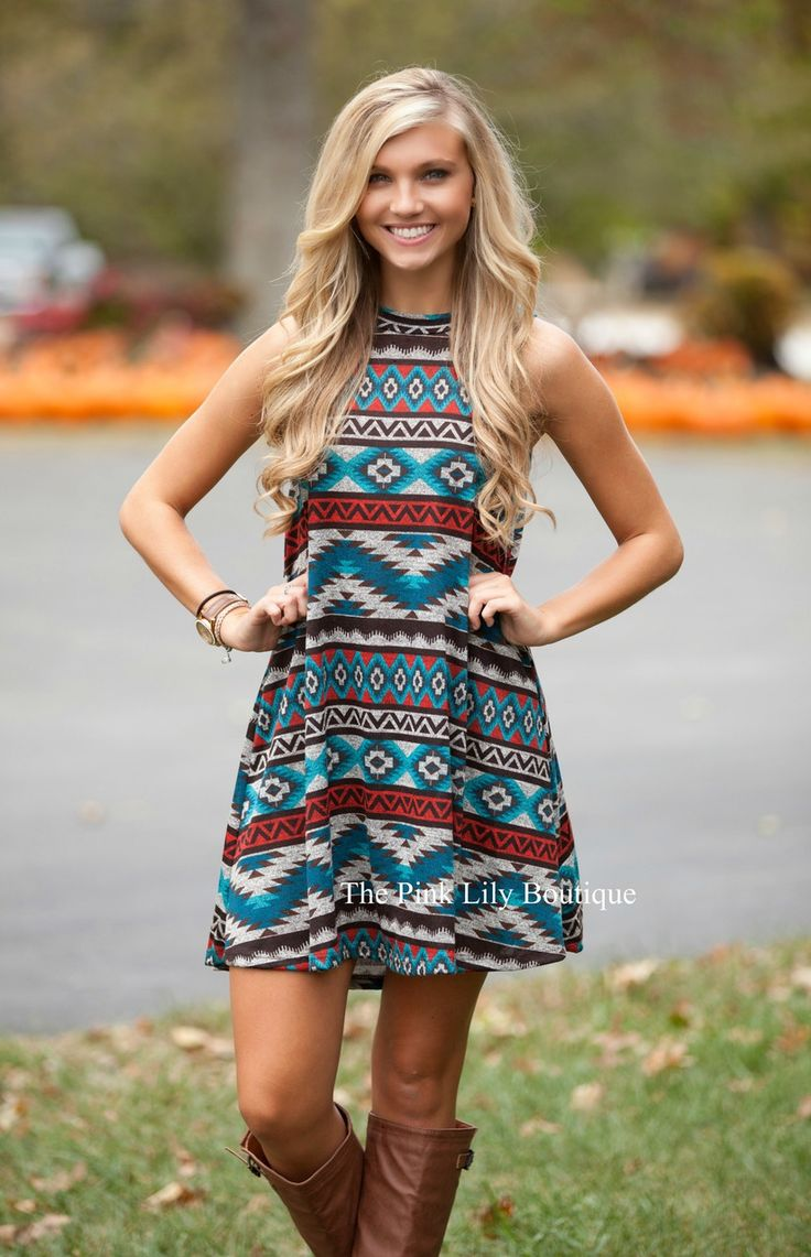 Illusion Of Aztec Dress Aqua - The Pink Lily Boutique