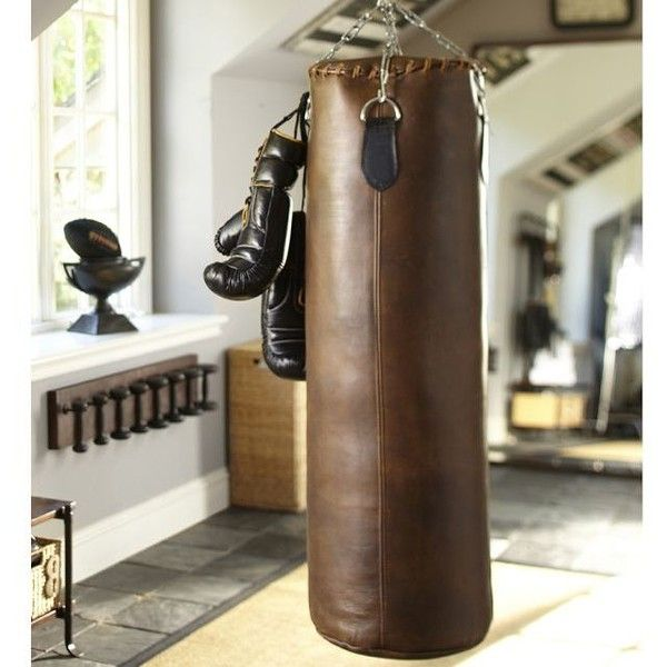 Leather Heavy Punching Bag found on Polyvore featuring polyvore, fashion, bags, leather bags, brown bag, brown leather bag, genuine leather bag and real leather bag