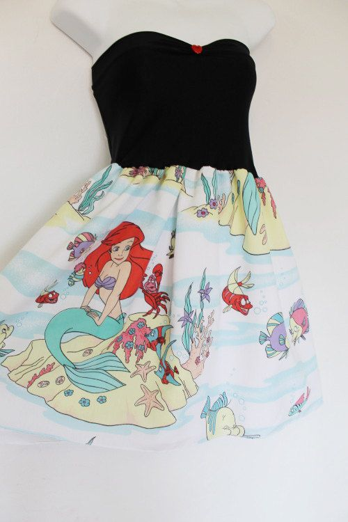 The LITTLE MERMAID Disney Party Dress Bow Disney by lynnsrags, via Etsy.... Made from recycled bed sheets, I think I can do this: