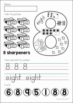Back to School Math & Literacy Worksheets and Activities No Prep. Number worksheet.