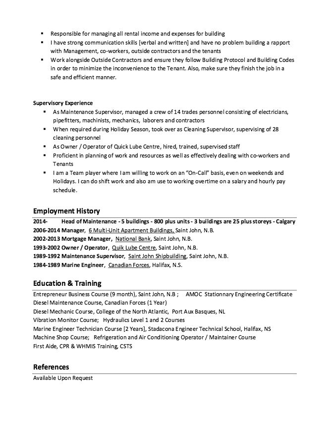 Building Maintenance Resume Example - Http://Resumesdesign.Com