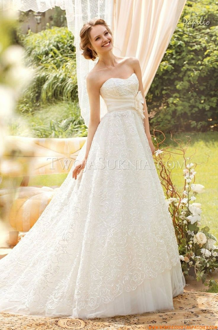 206 best inexpensive wedding dresses images on pinterest prom tonia strapless white lace wedding dress from sole mio by papilio ombrellifo Gallery
