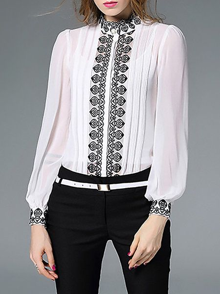 Shop Blouses - H-line Long Sleeve Polyester Simple Embroidered Blouse online. Discover unique designers fashion at StyleWe.com.