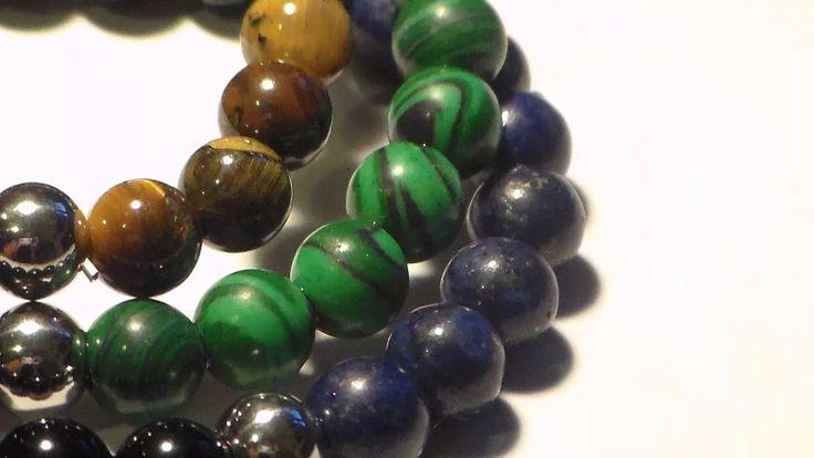 pulsera de piedras naturales (semi-preciosas) y acero