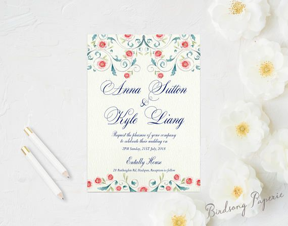 Nouvelle Printable Wedding Invitation Suite on Etsy.  #etsy #weddingstationery #invitation #weddinginvitation #wedding #illustration #stationery #papergoods #eventstationery #birdsongpaperie #weddingplanning #printableinvite #weddinginvite