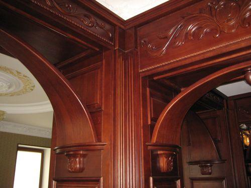 отделка деревом проемов - резные арки и порталы