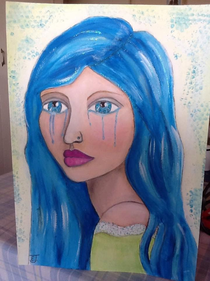 Crying girl with aqua blue hair painting.  Whimsical, sad lady. Blue with green dress.  Sad eyes, tears on face, beautiful girl. by WhimsyArtbyElizabeth on Etsy