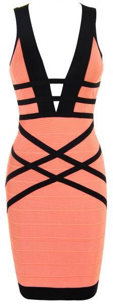 'Naima' Coral & Black Woven Back Bandage Dress