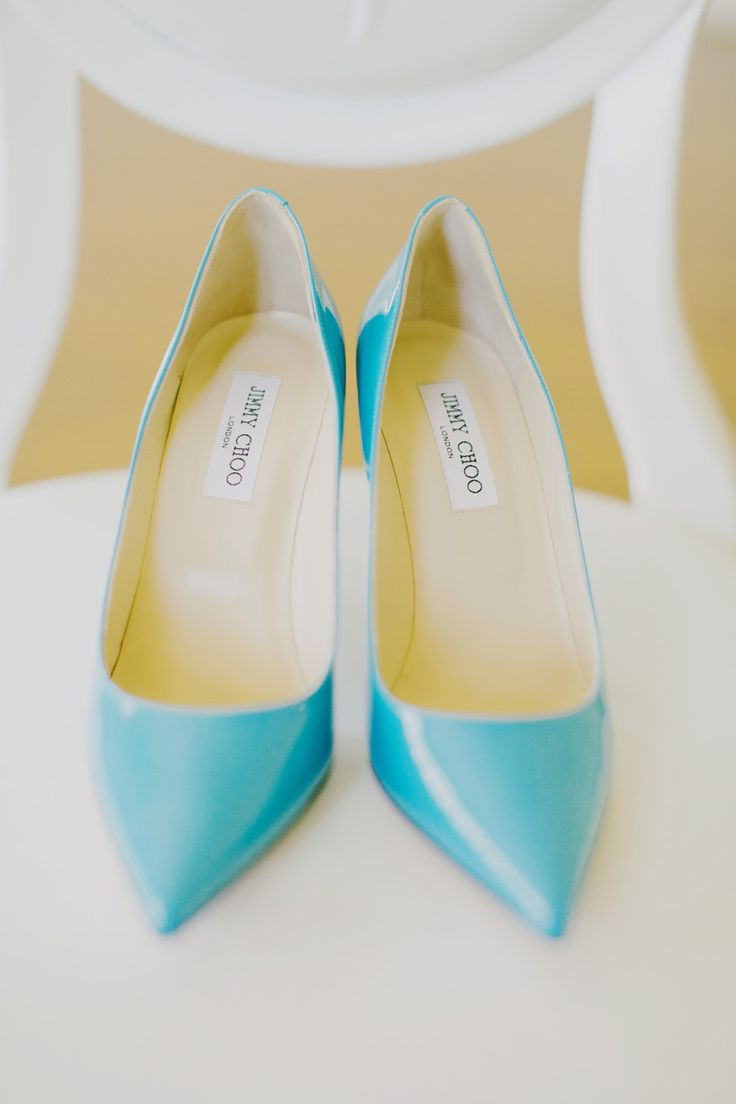 Bright blue Jimmy Choos! Photography by Milou Olin Photography / milouandolin.com
