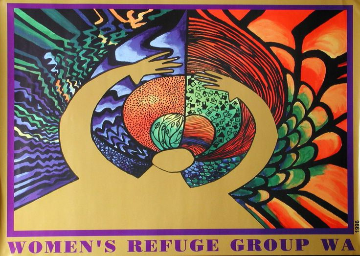 Women's Refuge Group, Western Australia - Poster/Postcards 1997. Artwork by Tamara Desiatov