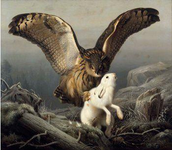 Wright, Ferdinand von Huuhkaja iskee jänikseen, 1860