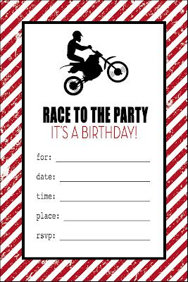 Free Printable!  Motorcycle Birthday invitations.