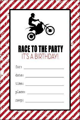 Free Printable Motorcycle Birthday invitations Son Pinterest