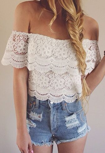 off the shoulder lace top and distressed denim shorts.