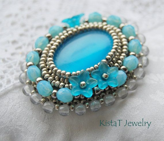 Forgetmenot brooch bead embroidered brooch in by KistaTJewelry, $22.00