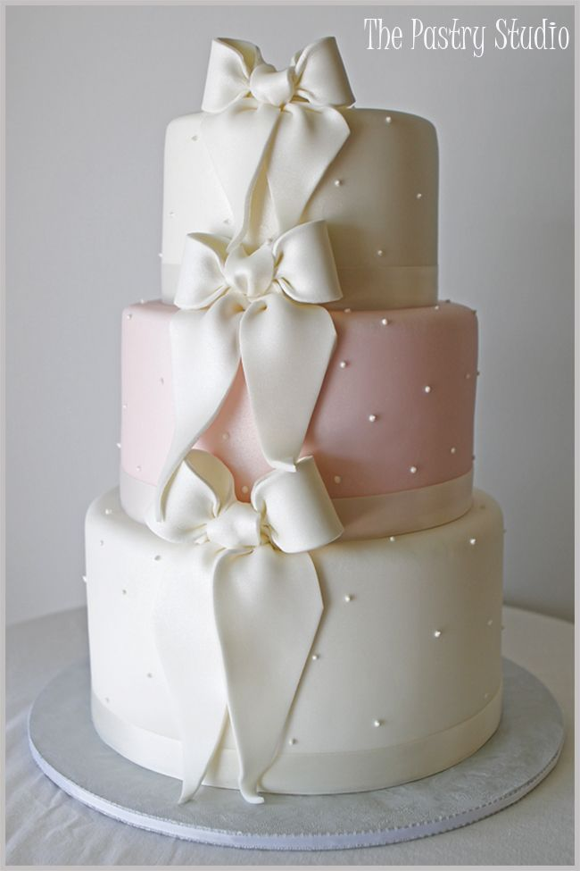 Soft Pink and White Classic Wedding Cake