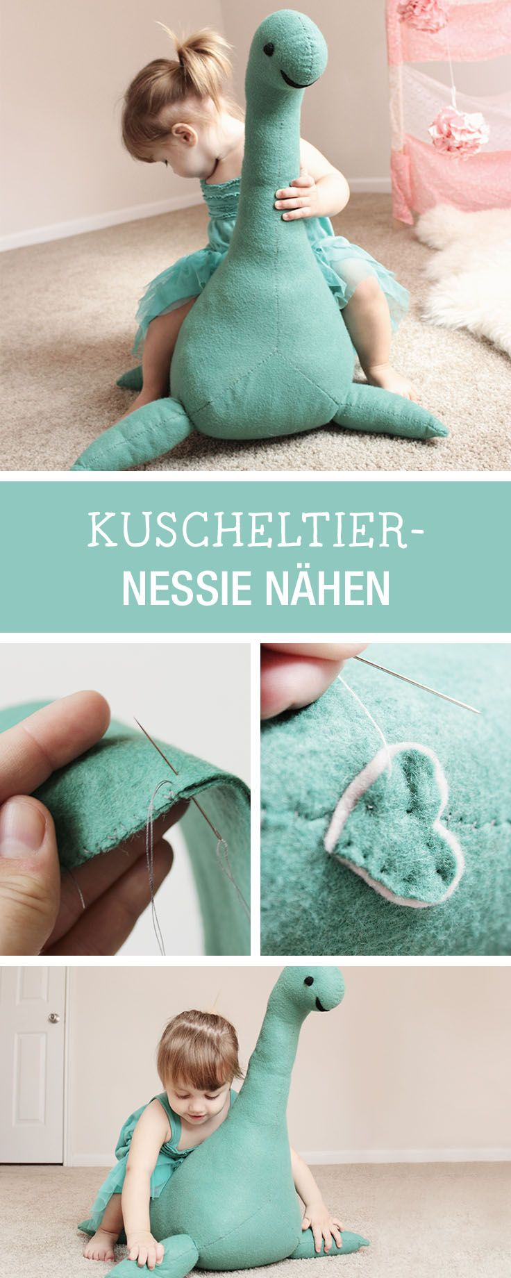 Nähanleitung für ein Kuscheltier: Nessie als großen Spielgefährten nähen / diy sewing tutorial and pattern: soft toy Nessie for the nursery via DaWanda.com