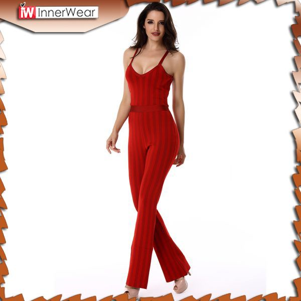 Women Jumpsuit Bandage red striped spaghetti strap V neck full length celebrity party Bodysuit....................................  Price : $91.03