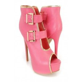 Coral Buckle Accents Platform Booties Faux Leather