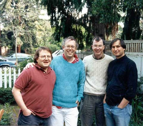This picture of Andy Hertzfeld, Bill Atkinson, Bud Tribble and Steve Jobs was taken at Andy's 40th birthday party in 1993.
