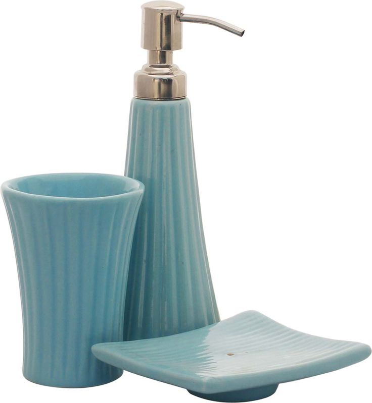 bulk wholesale handmade ceramic bath accessories set 3 items hand painted blue