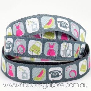 for the ladies ribbon   grey pink (16mm wide) [per metre] - $3.90 : Ribbons Galore, your online store for the best ribbons #ribbonsgalore #ribbons