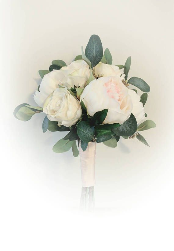 Silk peony and rose bouquet with gorgeous eucalyptus, gathered in elegant rose gold silk ribbon.  www.gsmahogany.etsy.com