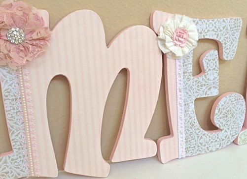 Custom Wooden Nursery Wall Letters- Girl Nursery Decor- Name- Wooden Hanging Letters - Any Color Any Theme- by The Rugged Pearl