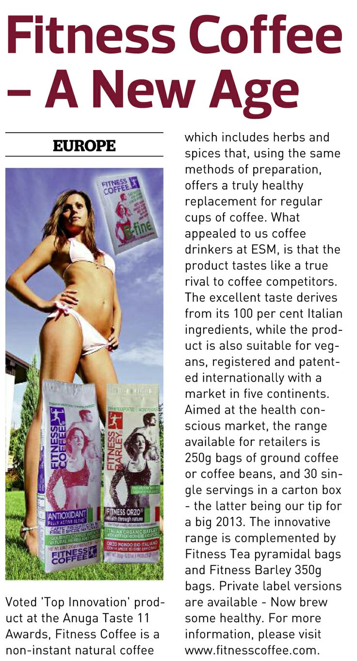 "Voted ""Top Innovation Prodant"" at the Anuga Taste11 Award, fitness Coffee is a natural coffee that includes herbs and spices that offers a truly healthy replacement for regular cups of coffee. For more info: www.fitnesscoffee.com"