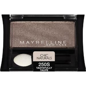 Maybelline Eyeshadow in Tastefully Taupe is a great taupe eyeshadow to try with a simple smokey eye. I used a cream eyeliner & black eyeshadow for a soft smokey eye, since I'm still trying it out. But if you're looking for an inexpensive taupe eyeshadow, try Maybelline's. :) by estelle