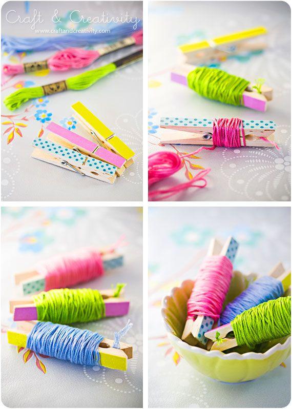 Broderingstråd på klänypor – Embroidery floss on clothes pins | Craft &