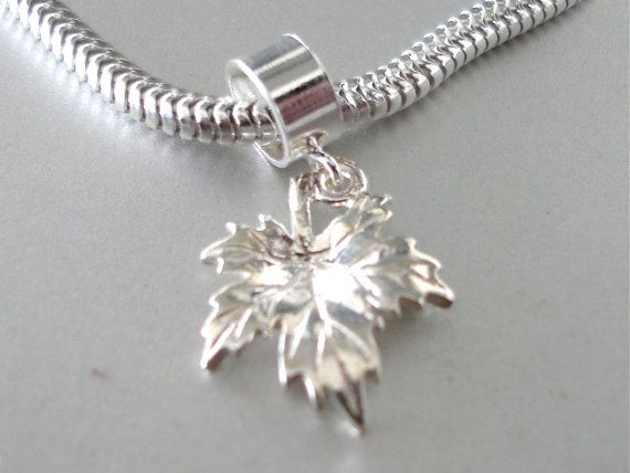 Canadian Maple Leaf Sterling Silver Charm Fits All Slide On Bracelets Charms