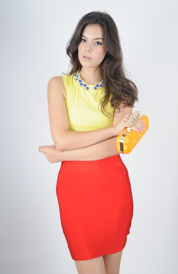 Top: Bleu Jewel Jaune  Bottom: Herve Ledger Rouge Skirt