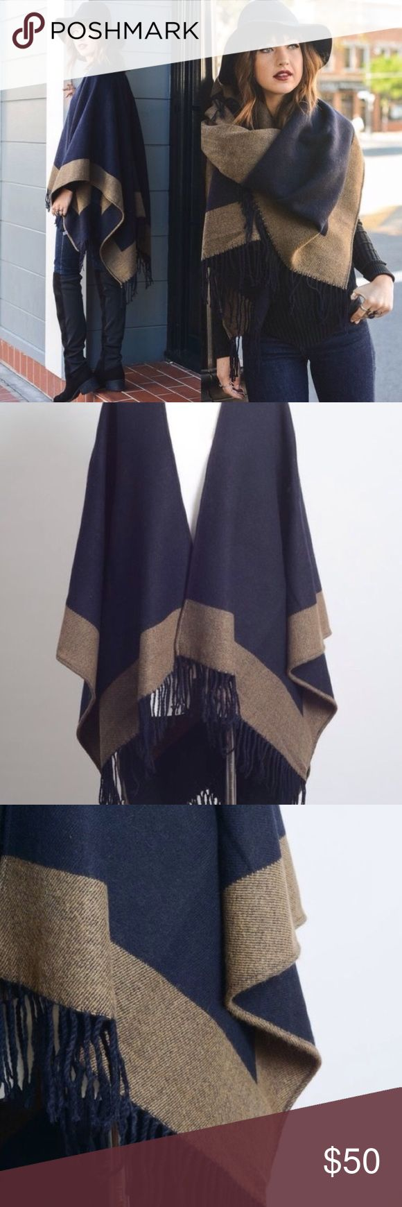 """Navy & Tan Poncho Wrap A must have for Fall/Winter season. One size: 57"""" x 26"""". Material: 100% Acrylic. Price is firm unless bundled.  Sweaters Shrugs & Ponchos"""