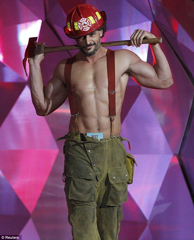 Who needs Fireman Sam: No doubt all eyes were on Magic Mike star Joe Manganiello's fetching braces when he came on stage to deliver the best on-screen transformation envelope
