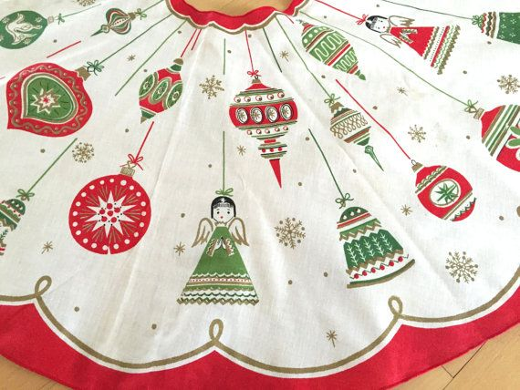 Mid Century Vintage Christmas Tree Skirt Angels Shiny Z