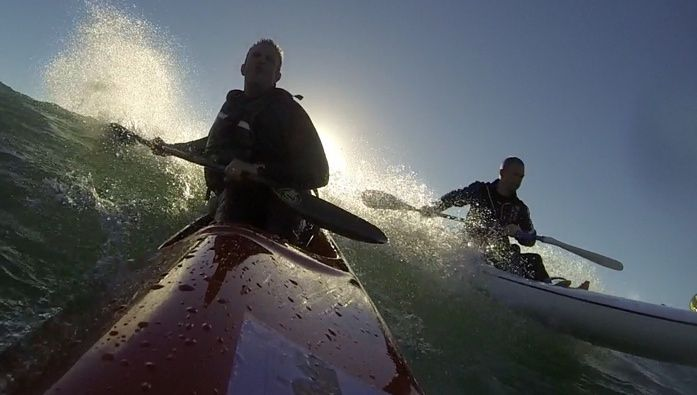 The Team Fat Paddler surfski crew take on the Autumn swell at Manly