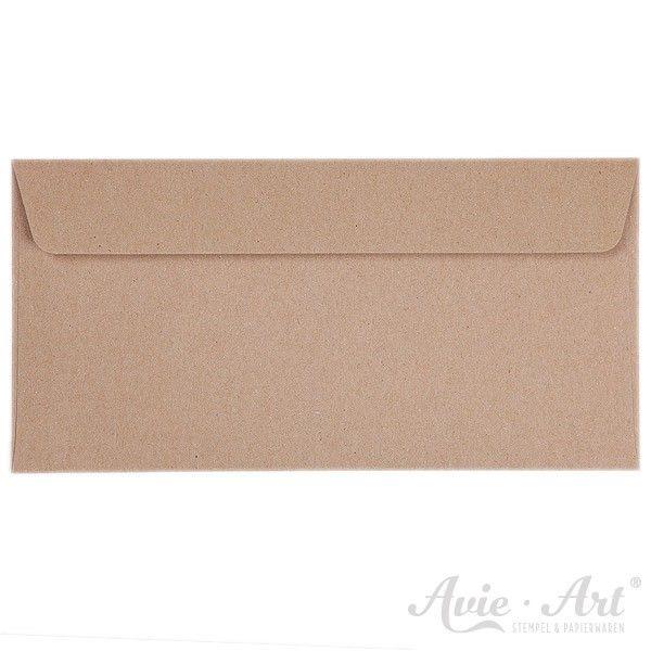 25 Briefumschläge DIN Lang Naturpapier - braun