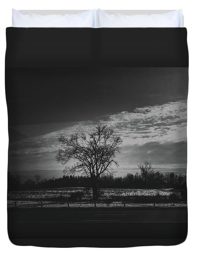 """To the Ones Who Dream..."" Black and white landscape scene on a duvet cover for your bed by Valerie Rosen Photography"