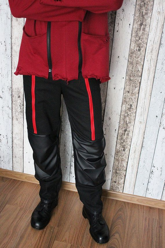 Rock Metal Men's Pants with zips and eco leather – L - bio