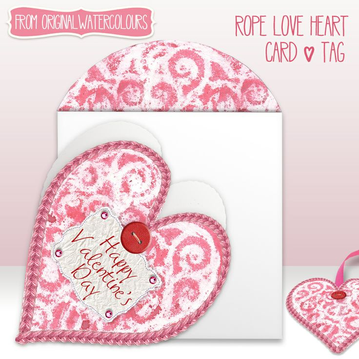 A Valentine card in the shape of a heart with matching heart tag. This design started off as an original watercolour which has then been scanned digitally with rope border, stitched tissue paper, button and gem stone additions. It does not contain real elements and consists of a digital photograph on the front of the card. #valentines #valentinesday #valentinecards #stvalentinesday #pixeloccasions