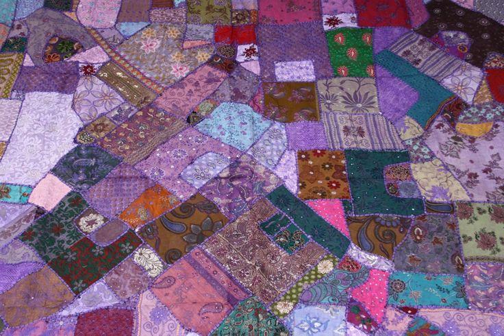 Vintage Sari Patchwork Bedspread - Quilt - Bedcover - kingsize - orange