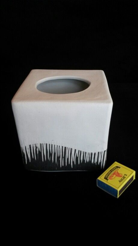Tissue box by Janine Wittrowsky. White clay. Black slip and Sgraffito. Earth Play Studio.