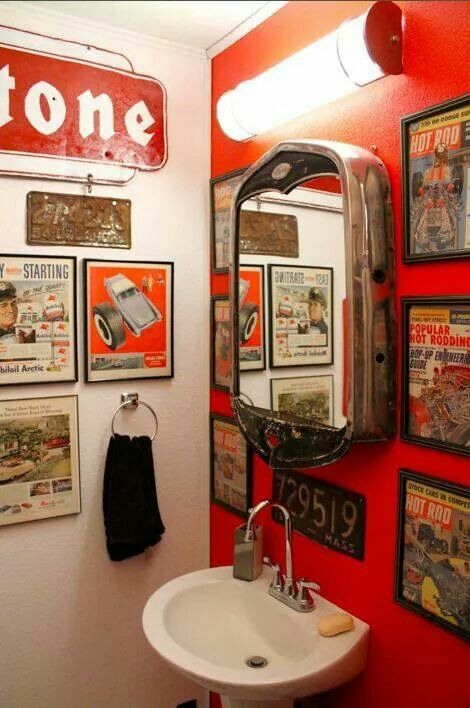 hot rod themed bathroom repurposed stuff in 2019 man cave bathroom garage bathroom man cave. Black Bedroom Furniture Sets. Home Design Ideas