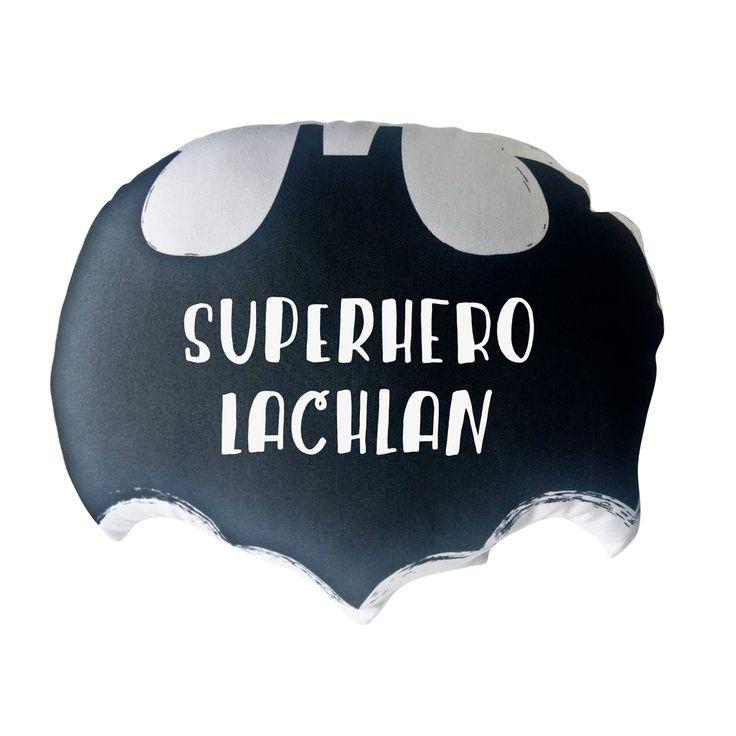 Boys personalised batman inspired cushion in the fantastic shape of a bat.